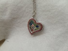 Pink Heart Rhinestone Type 1 D Medical Alert Floating Necklace