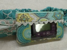 Moroccan Insulin Pump Pouch in Turquoise Mint Grey