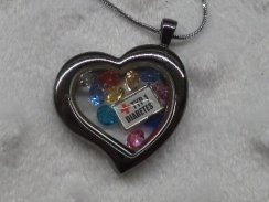 Silvertone Heart Medical Alert Floating Locket Necklace