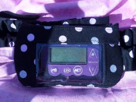 Window Insulin Pump Pouch Pink & Silver Sparkle Polka Dot on Blk