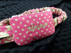 Lime & Melon Damask Insulin Pump Pouch w/optional monogram