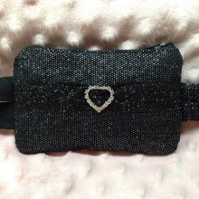 Insulin Pump Pouch Black Metallic & Rhinestone Special Occasion
