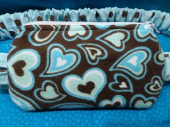 Chocolate Aqua Hearts Insulin Pump Pouch Case in Flannel
