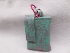 Pink Sparkle on Mint Faux Leather Vertical Insulin Pump Pouch