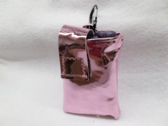 Metallic Pink Faux Leather Vertical Insulin Pump Pouch