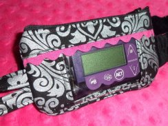Black Hollywood Sparkle Damask Window Insulin Pump Pouch Case