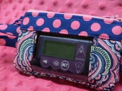 Blue/Hot Pink/Green Damask Insulin Pump Pouch Case