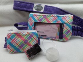 Colorful Plaid Insulin Pump Pouch w Optional Window