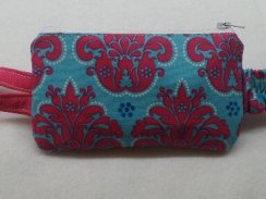 Turquoise & Hot Pink Damask Insulin Pump Pouch