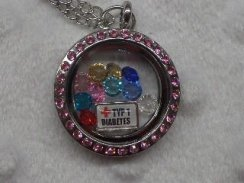 Pink Rhinestone Type 1 Diabetes Medical Alert Floating Necklace