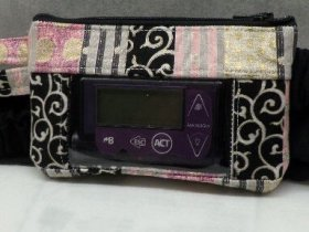 Insulin Pump Pouch w Asstd Print w/ Metallic Gold Accents