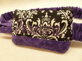 Purple Trim Damask Insulin Pump Pouch w Monogram Option