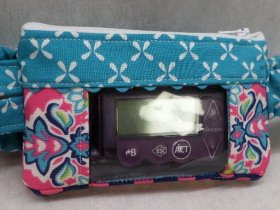 Turquoise Damask Insulin Pump Case with Window