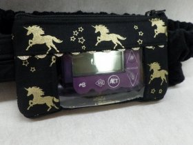 Gold Unicorns on Black Insulin Pump Pouch optional window