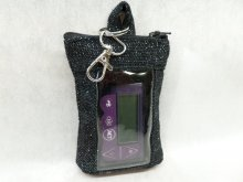 Black Holiday Sparkle Vertical Insulin Pump Pouch Minimed 670G