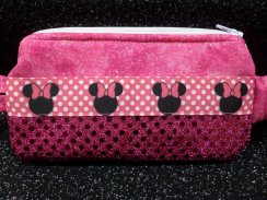 Mouse Hot Pink Sequin Insulin Pump Pouch Case Holder