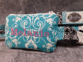 Turquoise Scroll Damask Insulin Pump Case w Monogram