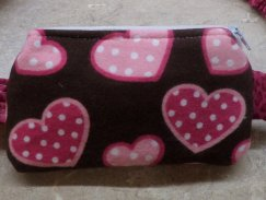 Heart & Cheetah Flannel Insulin Pump Pouch