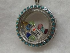 Blue Crystal Medical Alert Floating Necklace Type 1 Diabetes