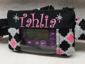 Quatrefoil Monogrammed Insulin Pump Pouch optional window