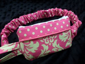 Watermelon Damask Insulin Pump Pouch w/Lime Dots