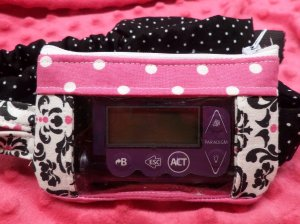 Damask & Polka Dot Window Insulin Pump Pouch Case
