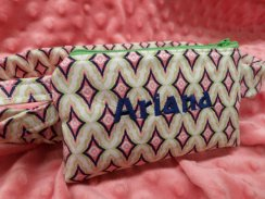 Monogrammed Insulin Pump Pouch Diamond Geo Pattern For Girls