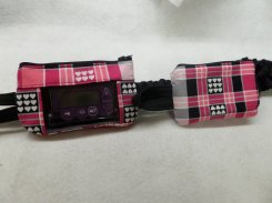 Plaid & Heart Insulin Pump Case with Hot Pink Black Grey wht