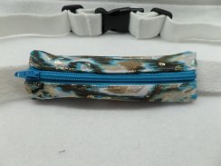 Turquoise Brown Gold Shimmer Slim Insulin Pump Belt Spandex