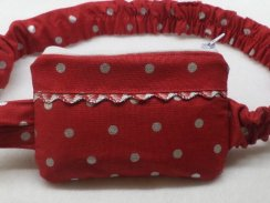 Festive Holiday Insulin Pump Pouch Red Silver Metallic Dot |