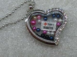 Half Rhinestone Heart Medical Alert Floating Locket Necklace